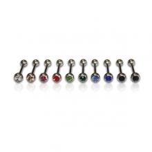 Piercing barra de 18mm con bola de color y brillo