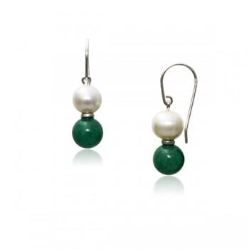 Pendientes de Perla Natural y Jade