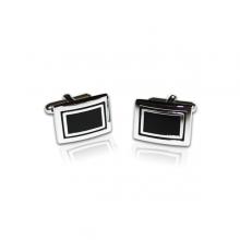 Gemelos diseño rectangular negro y brillo