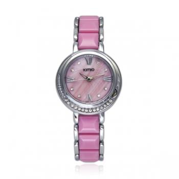 Reloj rosa con piedras